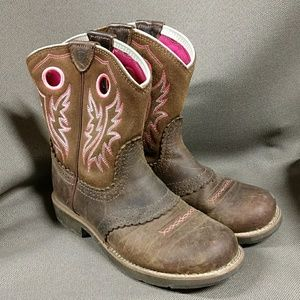 Ariat brown and pink fatbaby cowboy boots 5